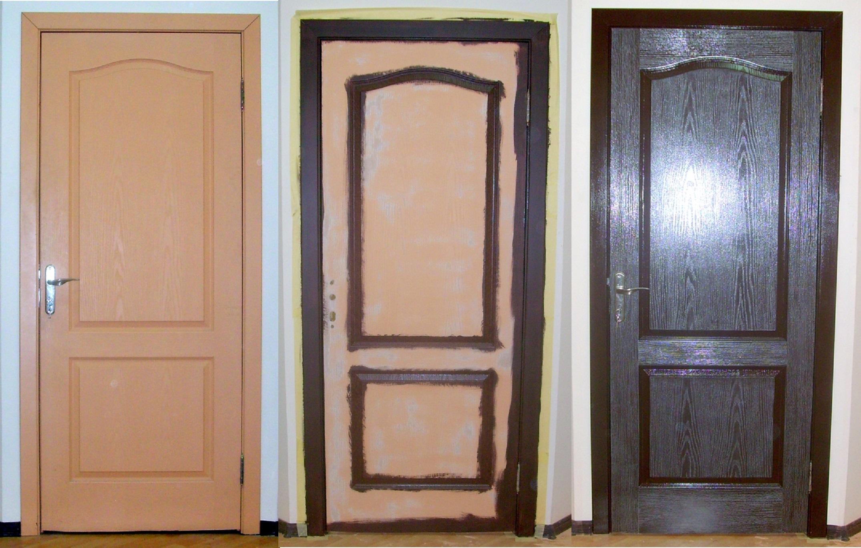 Покраска дверей в цвет венге