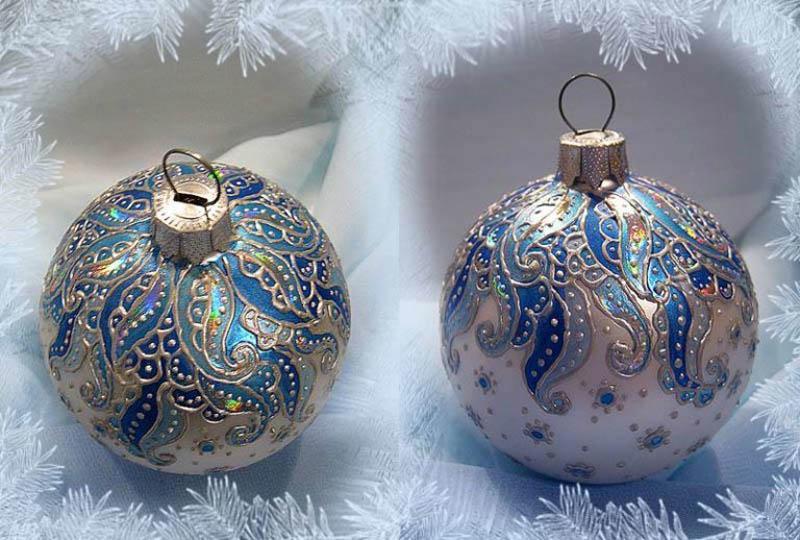 Новогодние украшения для елки, расписанные стеклянные шары