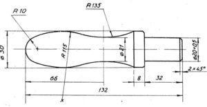 чертеж ручки для инструмента